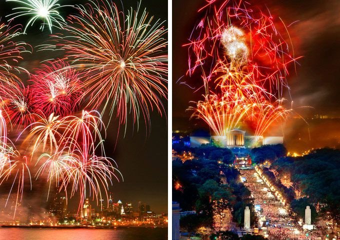 July 4th In Philadelphia Fireworks Guide and Best Places To Watch: Saturday, June 30 At Penn's Landing and  Wednesday, July 4 on The Benjamin Franklin Parkway. Free! (Photos by G.Widman for GPTMC)