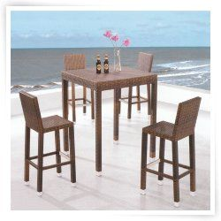 Royal Garden All-Weather Wicker 5 pc. Bar Height Patio Set - Brown