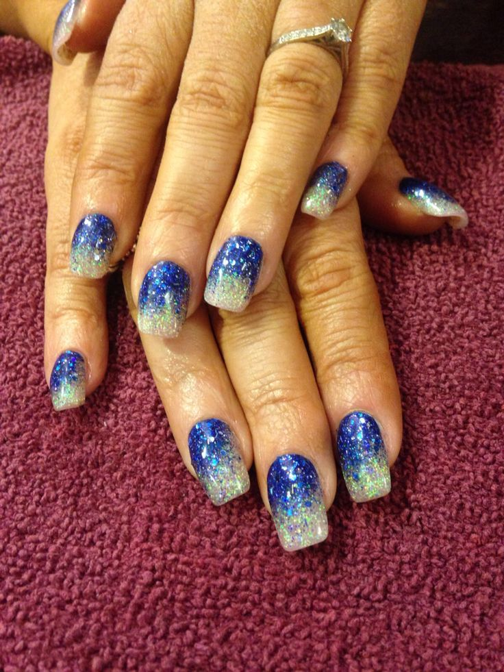 Glitter acrylics blue faded into silver #blue #silver #glitter #fade #acrylics