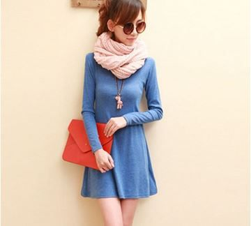 Show details for Spring Women Dress Fashion Pure Color 100% Cotton Casual Dress Long Sleeve Woolen