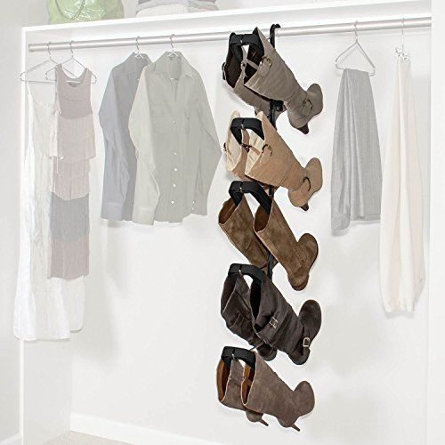 The #1 Rated Boot Rack on Amazon. Boot Butler - Boot Hanger & Boot Organizer in Chrome/Black - Space-saving boot storage. Hangs off any closet rod. Customers love it. Acts as boot shaper & boot holder. Can also hang over door. Holds up to 5 pairs of both tall boots & short boots. Sturdy & easy to use. Modular design fits space you have available. Your satisfaction is 100% guaranteed.