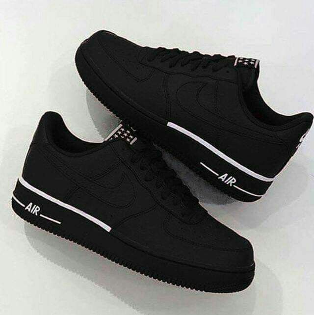 nike air force 1 black w white accents | Custom nike shoes ...