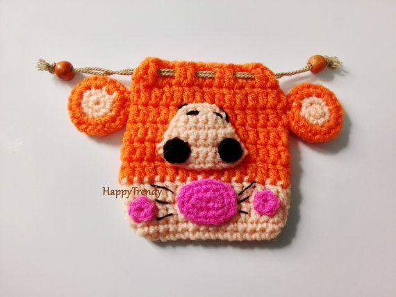 BA005 Crochet purse Handmade purse DIY purse FREE by HappyTrendy
