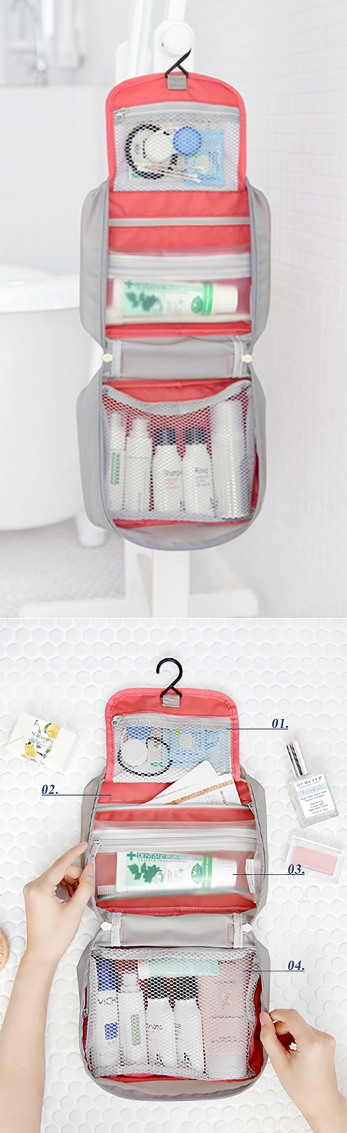 While compact for travel, the Wind Blows Toiletry Bag transforms into a hanging toiletry organizer. This pouch contains 1.mini mesh pocket, 2.hidden pocket, 3.detachable pouch and 4.main mesh pocket. The bag is made of ripstop fabrics that use a special reinforcing technique that makes them resistant to tearing, as well as, being water resistant! With a handle attached and a hook for hanging, this bag is the ultimate convenient travel companion!