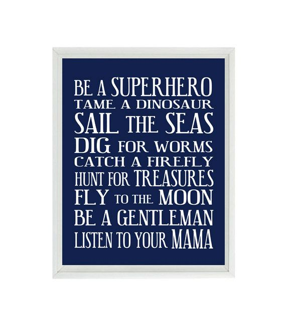 Boy Art - Boy Rules - Toddler Room -Navy Blue White Subway Art - Typography - Baby Gift - Modern Playroom Room Wall Art Print Poster 8x10