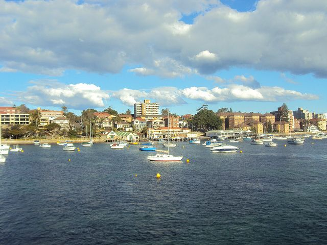 Calm and quiet. Manly Bay, Sydney. Taken from above Manly Fast Ferry.