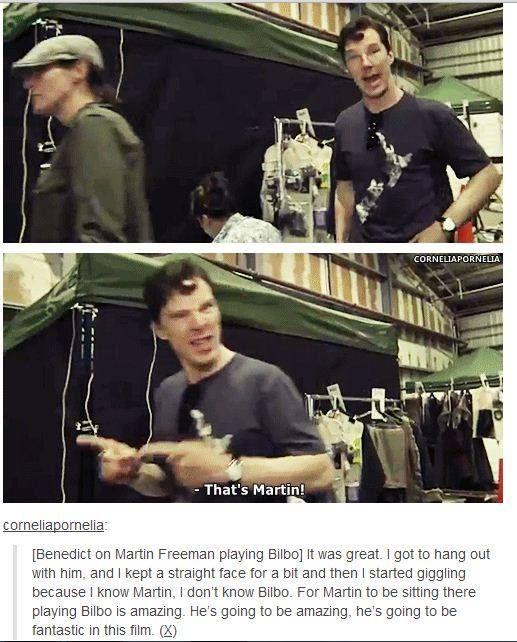 HAHAHA I LOVE THISSSS!!!! #Benedict #Cumberbatch #Smaug #Sherlock #Holmes #Martin #Freeman #Bilbo #Baggins #LOTR #Hobbit #Funny