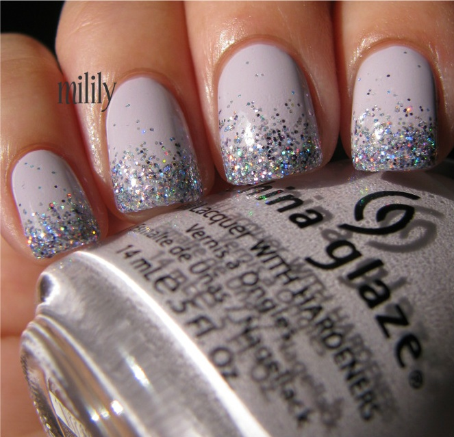 China Glaze Light as Aid topped with Color Club Sugarplum Fairy