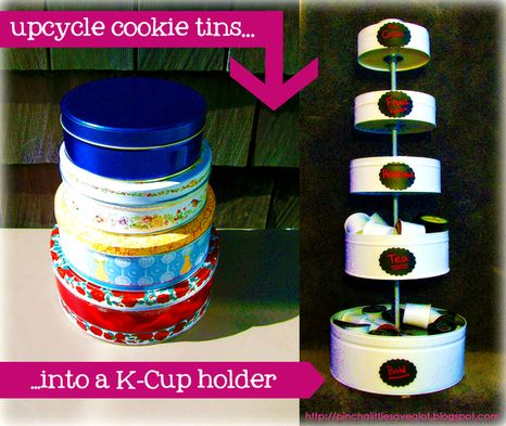 Upcycled Cookie Tin K-Cup Holder - I looked into purchasing a K-cup carousel, but they don't hold more than 35 at a time. So I made my own K-cup holder out of cookie tins, which can hold over 70 K-cups! I added chalkboard labels to help me organize my coffee by flavor and strength. Yay! No more ugly boxes stacked on my counter!