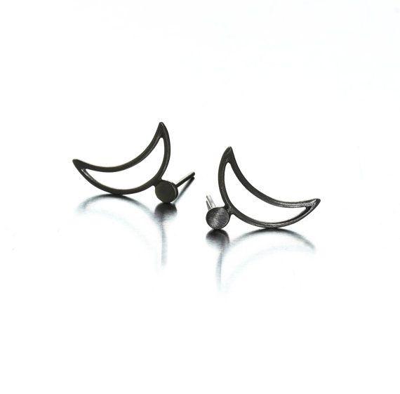 MIRO MOON Earrings Moon Stud Earrings Little Moon by SenayAkin