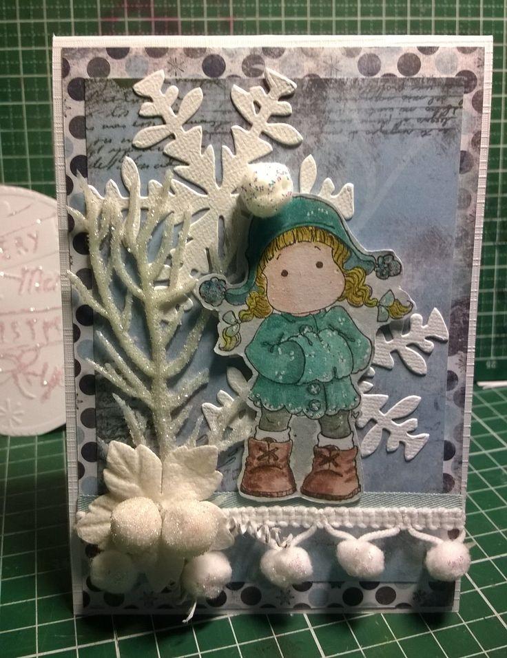 Even geen SU maar old scool Magnolia, ingekleurd met distress ink. Papier, embelishment en afbeelding vorig jaar gekregen met een kaarten kit swap.