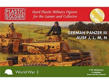 The Plastic Soldier Company 1/72 Panzer III Ausf.J, Ausf.L Ausf.M and Ausf.N Tanks - Pack of 3  from the plastic model kits range provides a selection of highly detailed miniatures that accurately recreate the real life tanks from World War II.