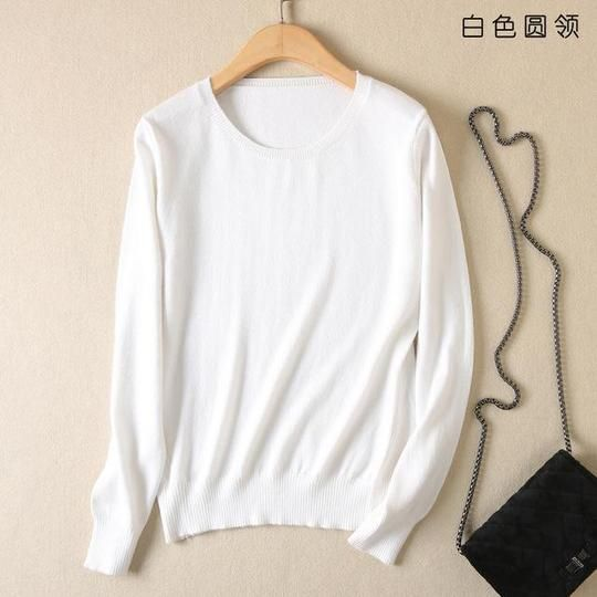 JVEII Fashion autumn and winter cashmere sweater women pullover knit O-neck sweater female plus size blue women's clothing 2