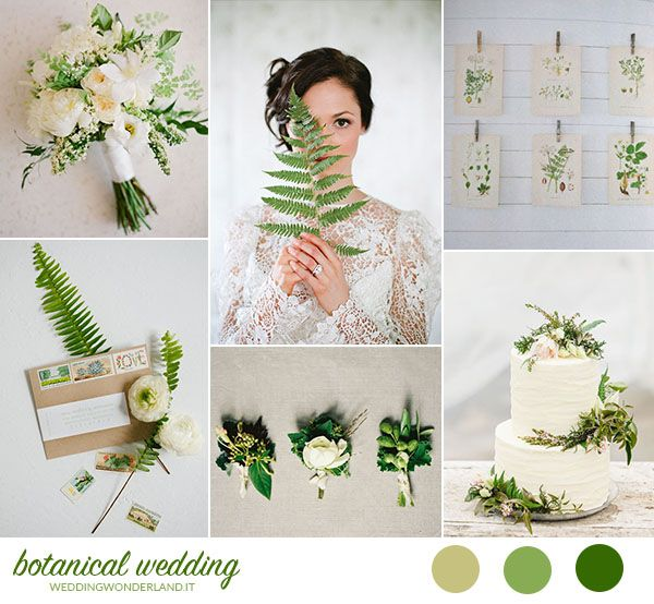 white and green botanical wedding inspiration http://weddingwonderland.it/2015/10/matrimonio-organico-botanico.html