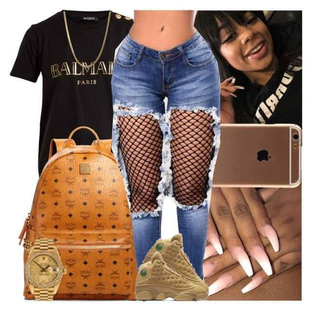 """Untitled #1530"" by msixo ❤ liked on Polyvore featuring Balmain, MCM, NIKE and Rolex"