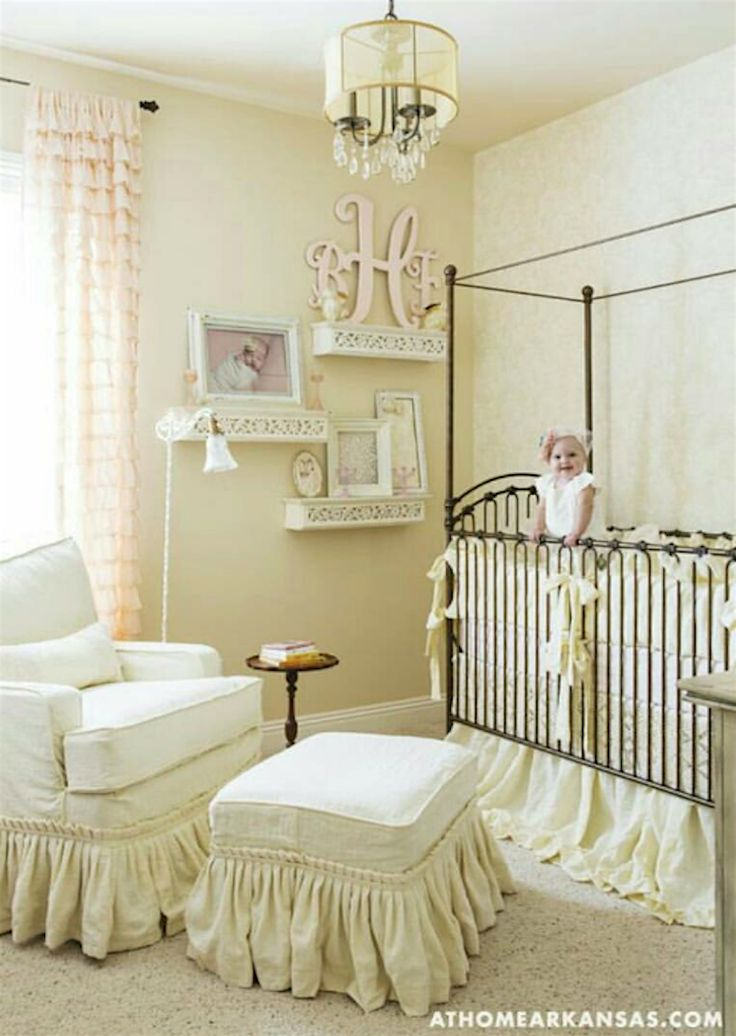 As seen on athomearkansas.com, this shabby chic inspired #brattpack mom added accents of dainty decor to create such a sweet space. Creams and pale pink flood the room, with a hint of contrast from our Venetian Crib in vintage gold. The Venetian design has been updated to the Parisian 9 in 1 crib.