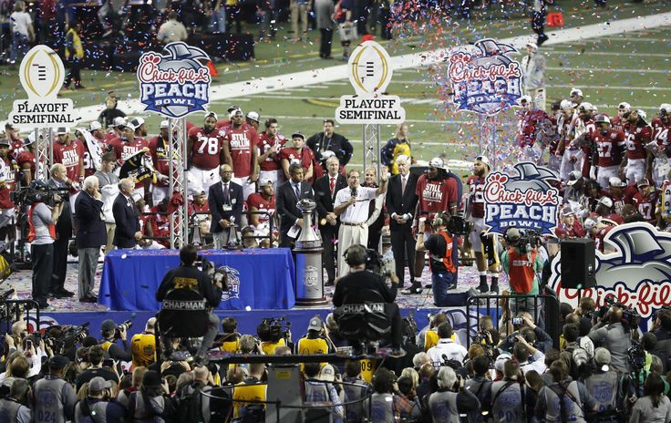 ATLANTA, Ga. – Led by a Crimson Tide bowl-record 180 yards on the ground from running back Bo Scarbrough and an opportunistic and often stifling defense, the No. 1-ranked University of Alabama football team won the College Football Playoff Semifinal at the Chick-fil-A Peach Bowl, 24-7, over No. 4 Washington Saturday afternoon in front of a record crowd of 75,996 at the Georgia Dome.