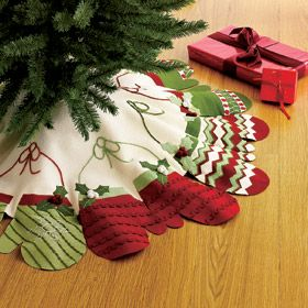 diy christmas tree skirt make mittens from felt decorate the mittens with sewing bric a brac glue the mittens to a round felt tree skit - Christmas Tree Skirts To Make