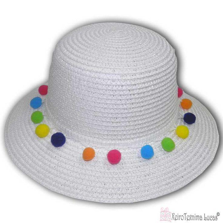 γυναικεία ψάθινα καπέλα με πον πον