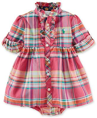 Ralph Lauren Baby Girls' Pink Plaid Dress