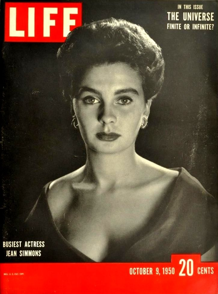 """Cover of """"Life"""" (9th October 1950), featuring Jean Simmons."""