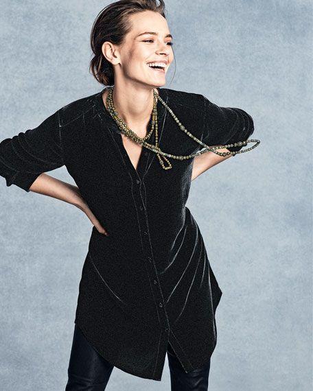 Eileen Fisher Washable Velvet Tunic Top 2016