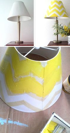 Chevron Lamp Makeover | Click Pic for 25 DIY Home Decor Ideas on a Budget | DIY Home Decorating on a Budget
