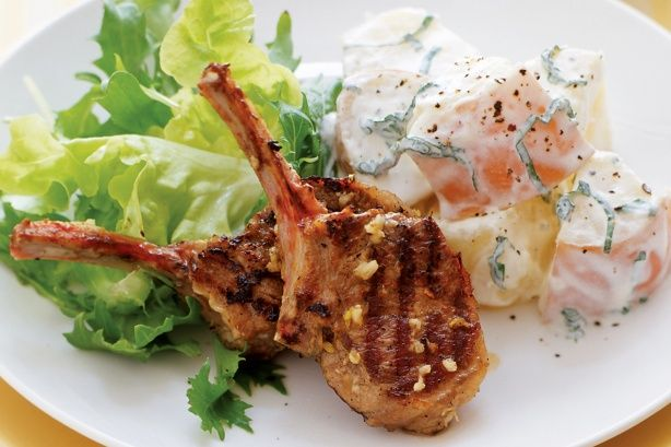 Lamb cutlets with minted potato salad main image