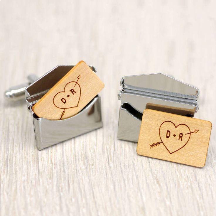 Personalised Heart and Arrow Envelope Cufflinks