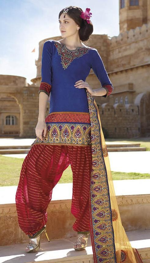 $94.79 Blue And Red 3/4 Sleeve Jacquard Punjabi Salwar Kameez 13465