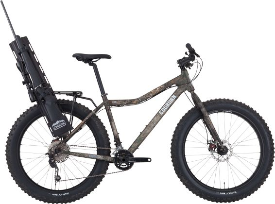 This is the CB4. CB4 is a fatbike, a human powered all-terrain vehicle built to take hunters &  anglers into the Back Country