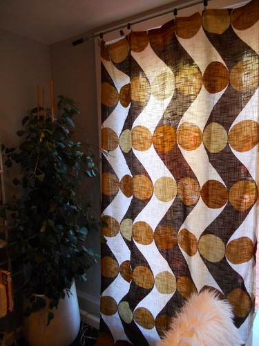 Mid Century Curtains Brown And White Polka Dot
