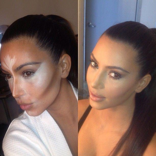 Kim Kardashian's highlighting/contouring befire & after.