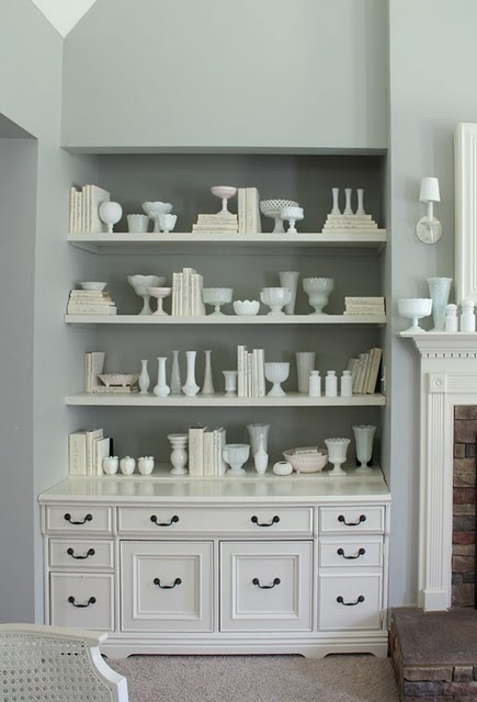 I love milk glass! Too bad I don't have a space like this...: Idea, Floating Shelves, Built Ins, Glass Collection, Milkglass, Fleas Marketing, Milk Glasses, Glasses Collection, Glasses Display