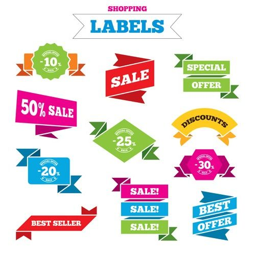 Shopping labels origami ribbons vector 10 screenshot