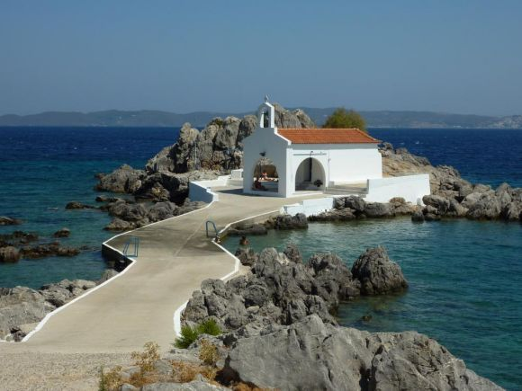 The picturesque church of Agios Isidoros in Chios