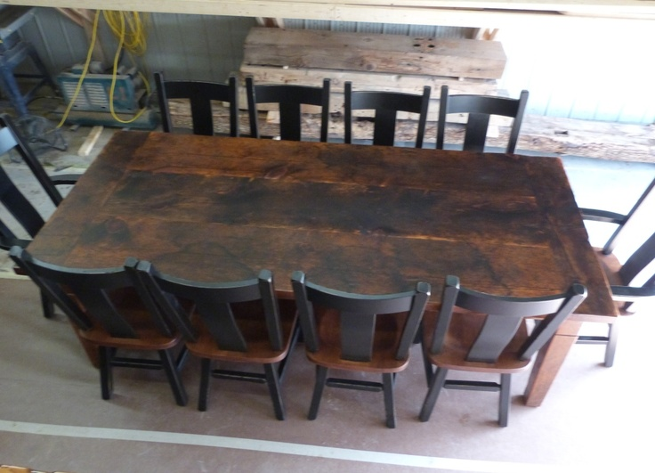 8 foot reclaimed threshing floor harvest table harvest for Dining room 8 feet wide