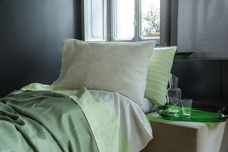 MarinaC - ROMY - bed set in washed linen in soft apple green and stripes - spring is in the air! - shop.marinac.it #marinacmilano
