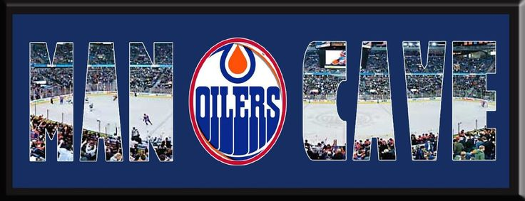 MAN CAVE - Personalized Framed Edmonton Oilers Team Logo & Rexall Place Stadium Large Panoramic Showing In Background With MANCAVE Letters Cut Out & Team Logo In Center-Framed Awesome & Beautiful-Must For Any Fan!