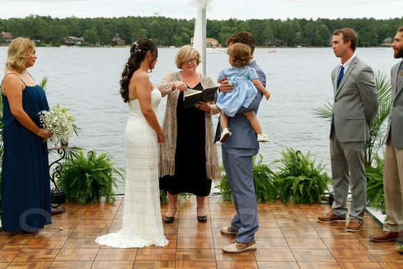 A lake side backyard wedding ceremony in Pinehurst North Carolina