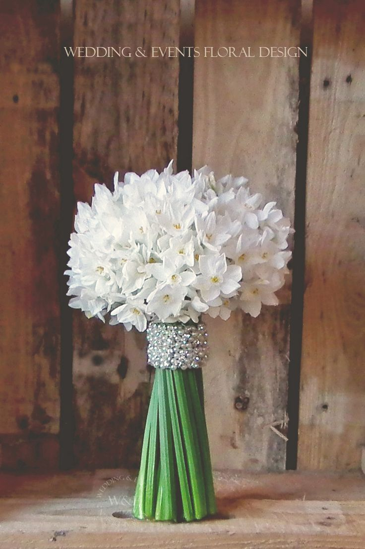 A White  Green Classic... Paperwhite Narcissus Bouquet with a Diamonte Wrap by Wedding  Events Floral Design