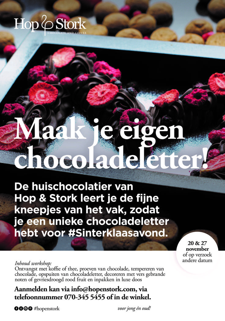 Sinterklaas en #chocolade liefhebbers opgelet! Vrijdag 20 en vrijdag 27 november organiseren wij een exclusieve #Chocoladeletter Workshop bij Hop & Stork. Meld je nu aan want de plaatsen zijn beperkt! http://hopenstork.com/agenda/ Jullie kunnen niet op deze data of liever een exclusieve workshop? Neem contact met ons op voor de overige mogelijkheden.