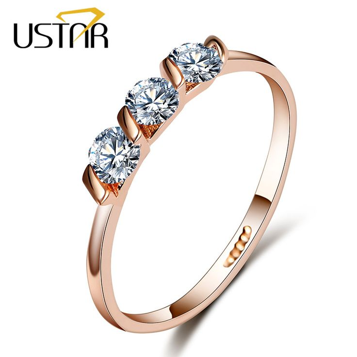 AAA CZ Diamond Wedding rings for women Rose Gold Plated engagement rings female Anel Austria Crystals Jewelry gifts top quality