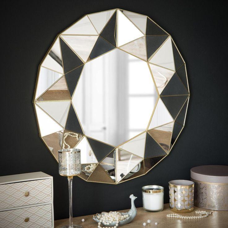 Mirror with 3D Geometric Patterns D 60 cm | Maisons du Monde