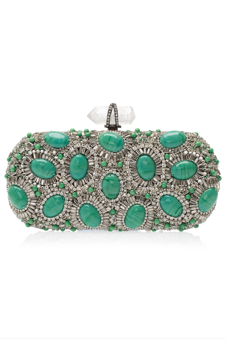 MARCHESA Crystal and Turquoise Clutch. Pretty spring color. Love turqouise, teals
