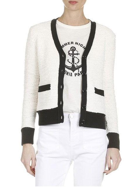 SONIA CONTRAST TRIM TEXTURED BUTTON DOWN CARDIGAN - http://www.callaghan.co.za/index.php/shop-michael-kors/shop-callaghan-online/sonia-rykiel/contrast-trim-textured-button-down-cardigan-detail