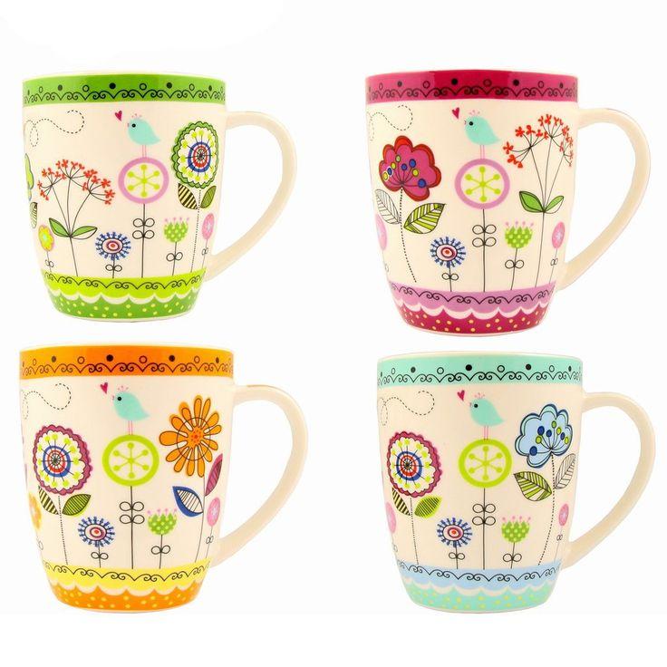 Becher Kaffeebecher Teetassen Set Groß aus Porzellan in weiß mit Blumen: Amazon.de: Küche & Haushalt