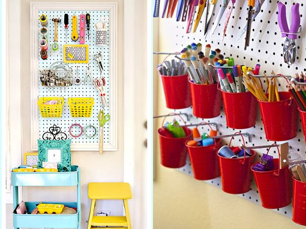 Buckets and baskets on pegboard