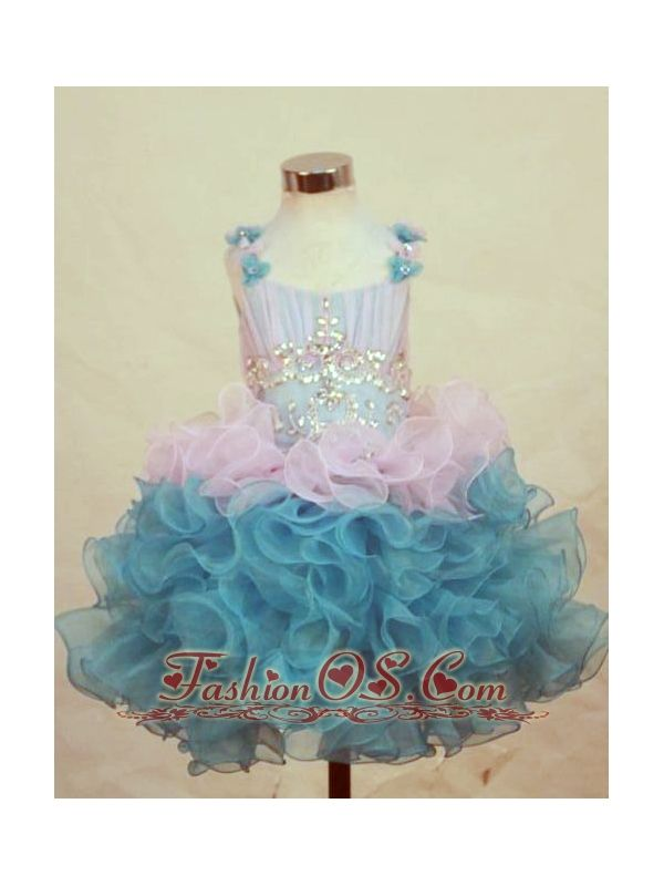 A-Line Straps Mini-length Multi-color Organza Beading Little Girl Pageant Dresses-  http://www.fashionos.com  http://www.facebook.com/fashionos.us  Little girls amaze the crowd when walking the stage in this cupcake pageant dress featuring ruffled shoulder straps. Iridescent stones and beads spark along the midriff and a multi-colored ballerina inspired skirt ruffles magically.