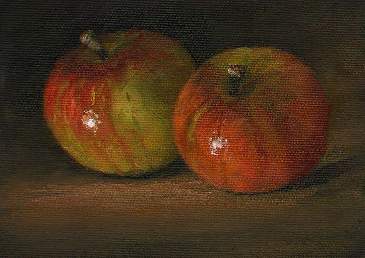 Original Oil Painting/ Marjorie Wilson/ Still Life - 'Two Little Apples'